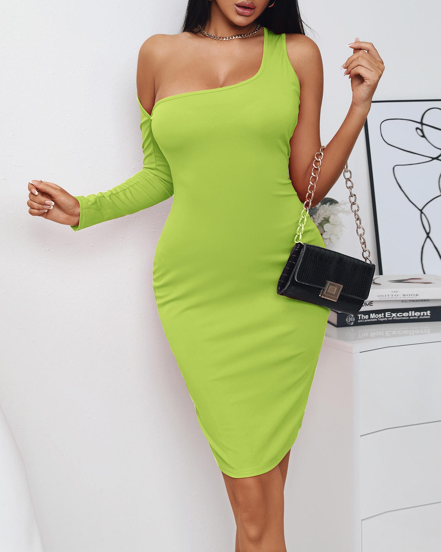 Solid Color Asymmetrical Halter Neck Bodycon Dress