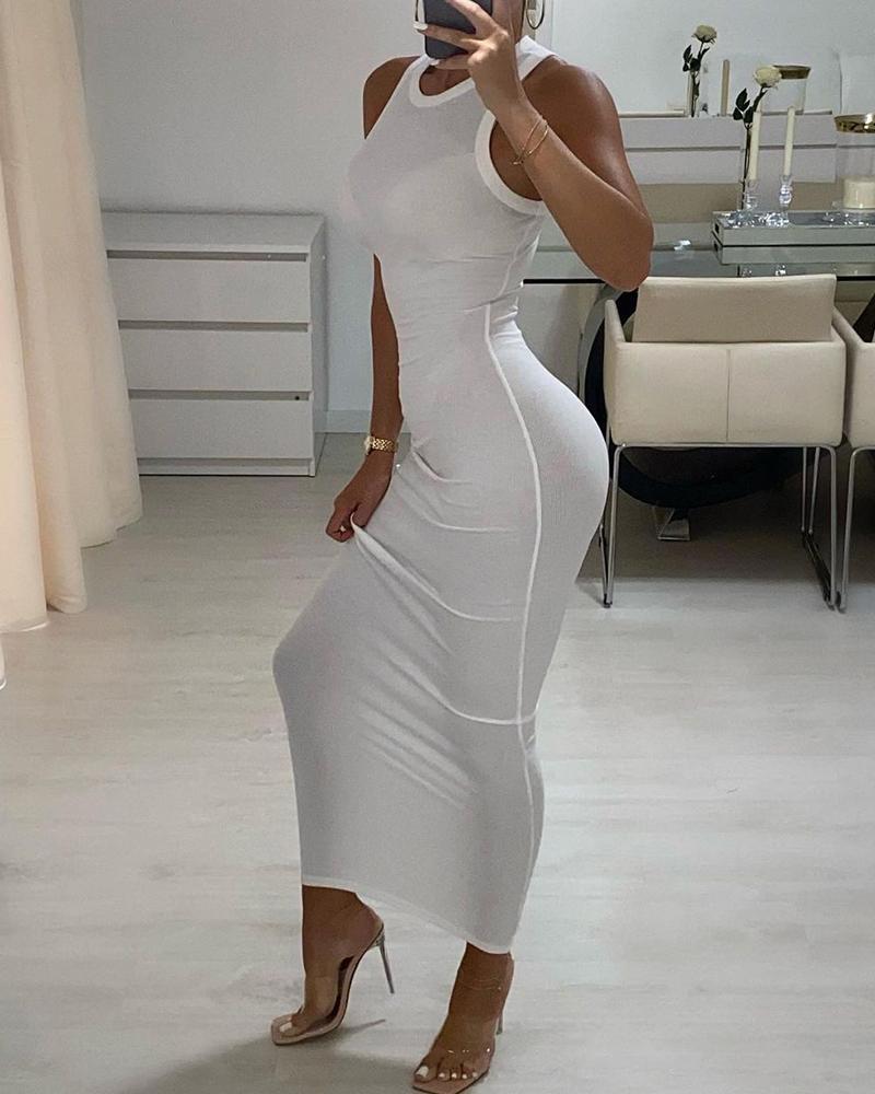 Plain Sleeveless Casual Maxi Dress