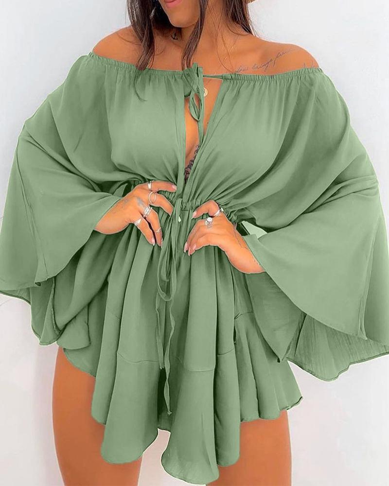 Solid Color Off Shoulder Bell Sleeve Drawstring Ruffle Hem Dress