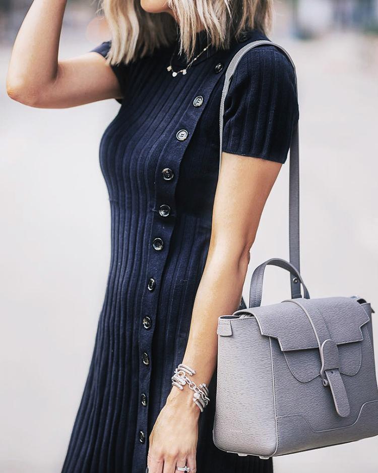 Short Sleeve Mock Neck Button Detail Dress