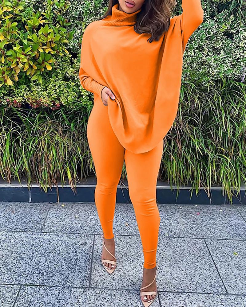 Plain Batwing Sleeve Top & Skinny Pants Set