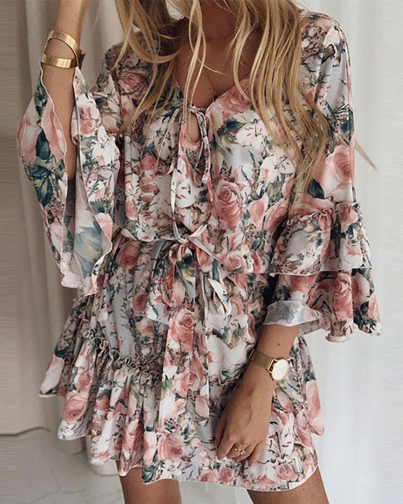 Floral Print Ruffle Hem Tie Detail Dress, Multicolor