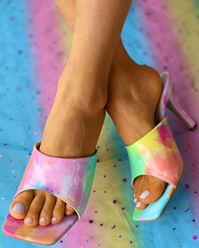 Tie Dye Print Square Toe Stiletto Heels