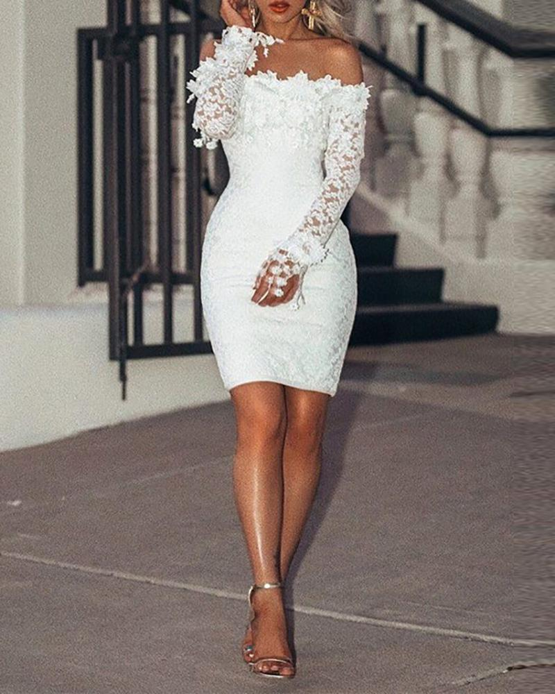 Off Shoulder Floral Pattern Lace Bodycon Dress
