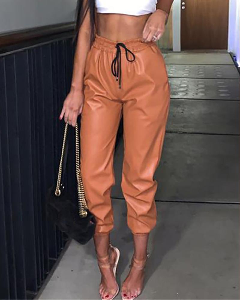 High Waist PU Leather Drawstring Cuffed Pant