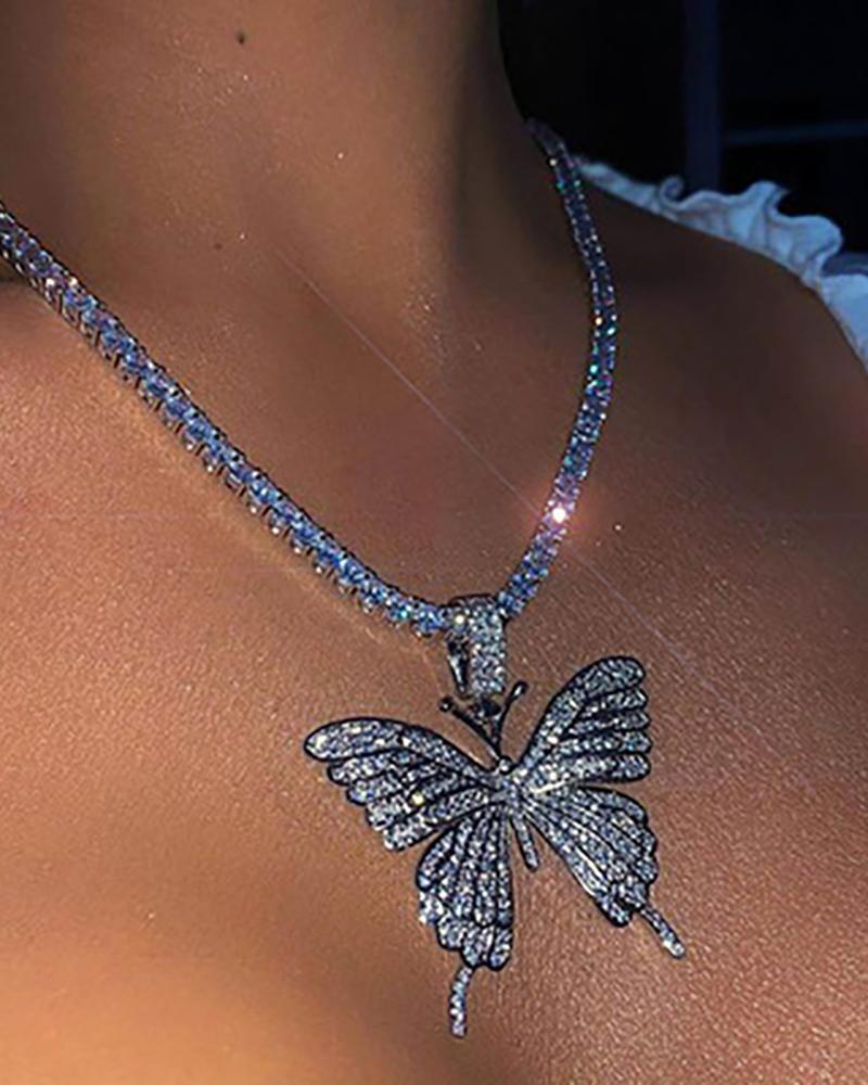 1PCS Butterfly Pendant Studded Charm Necklace