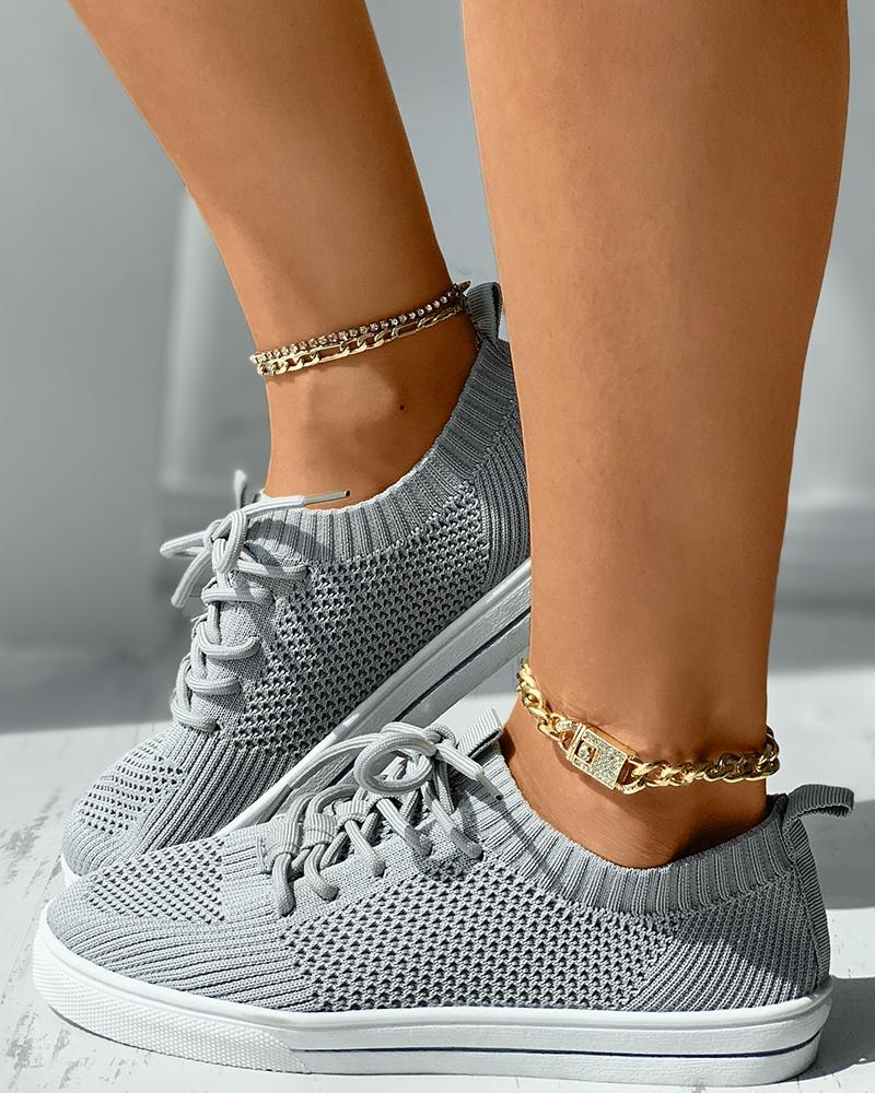 Knit Lace-up Breathable Casual Sneaker, Gray