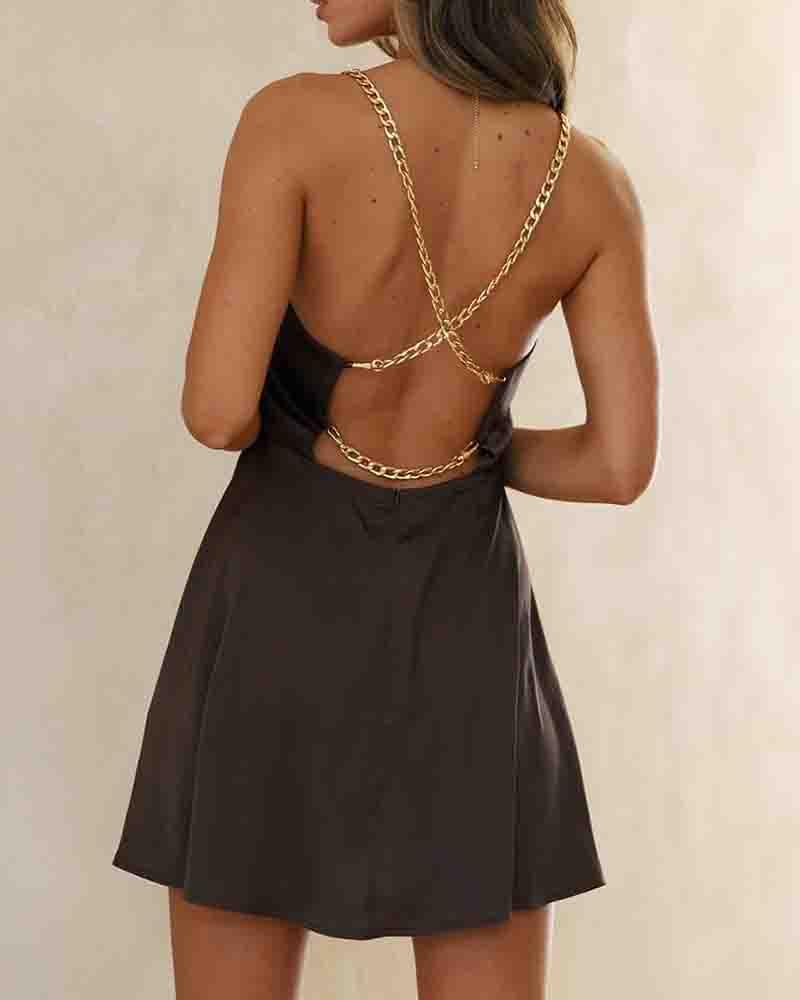 Solid Color Splicing Chain Strap Backless Mini Dress