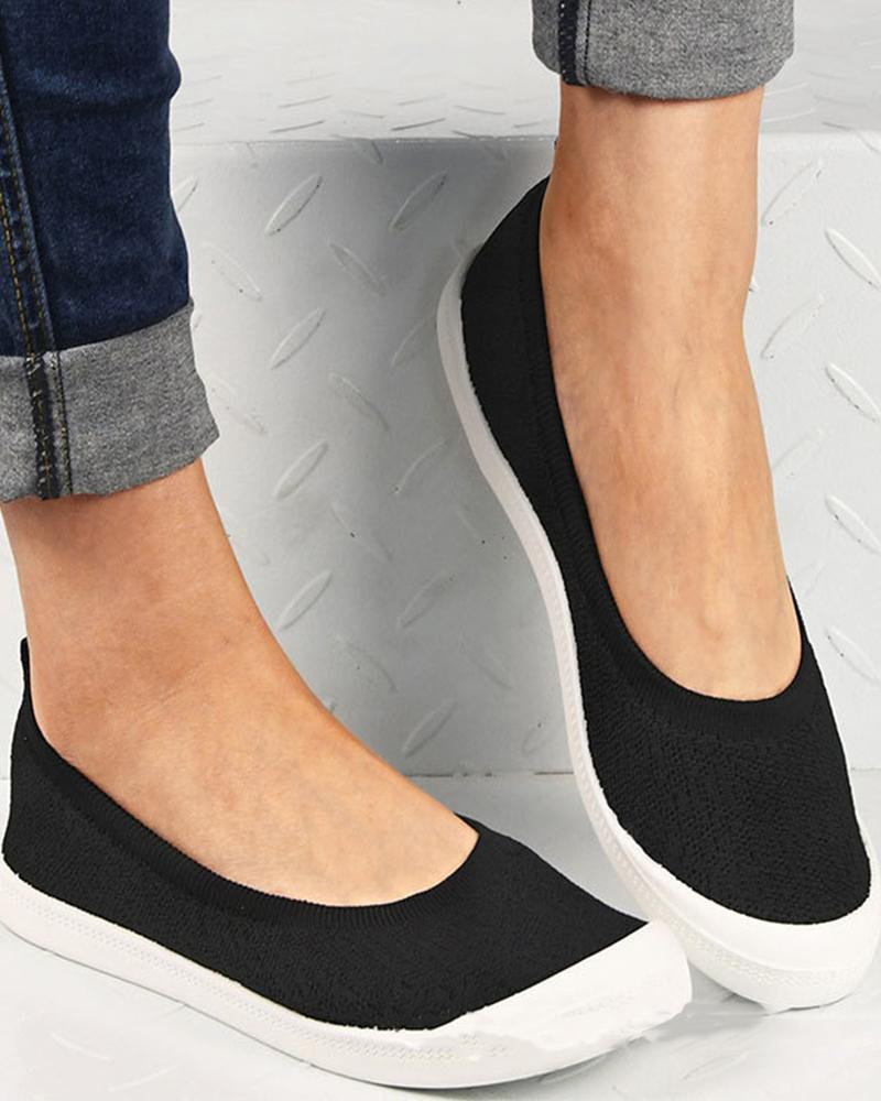 Ladies Round Toe Low-Top Casual Shoes