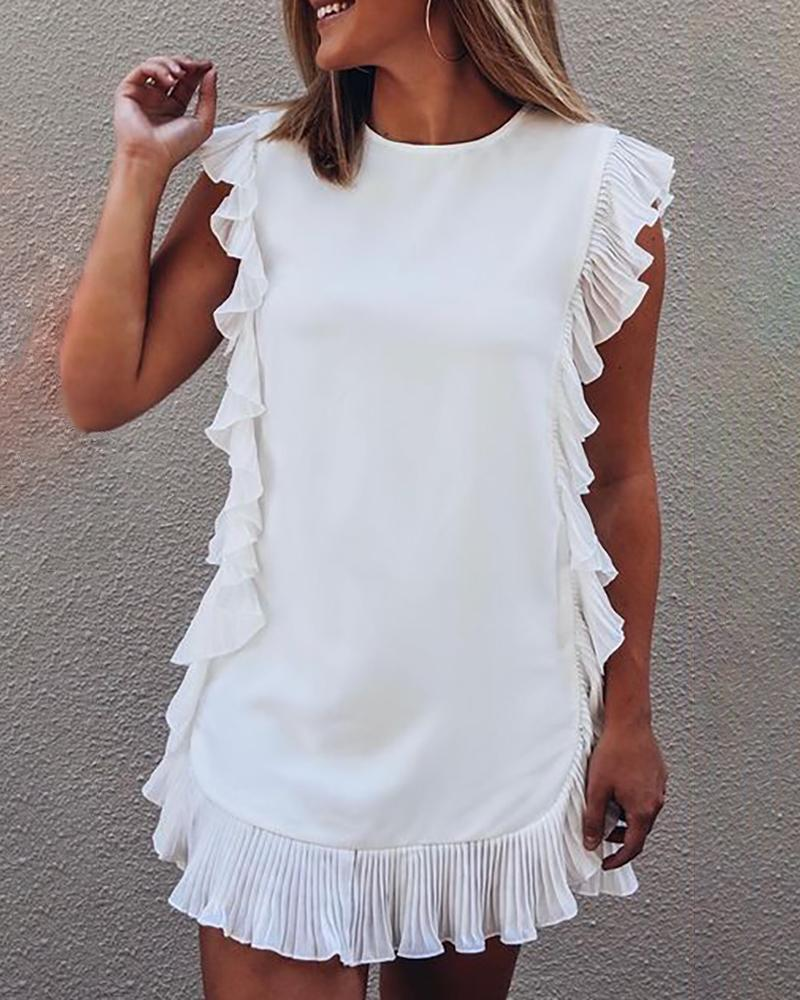 Ruffle Hem Plain O Neck Casual Dress, White