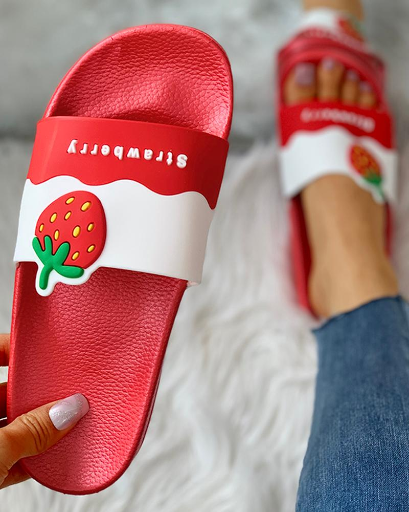 Fruit Pattern Open Toe Flat Sandals