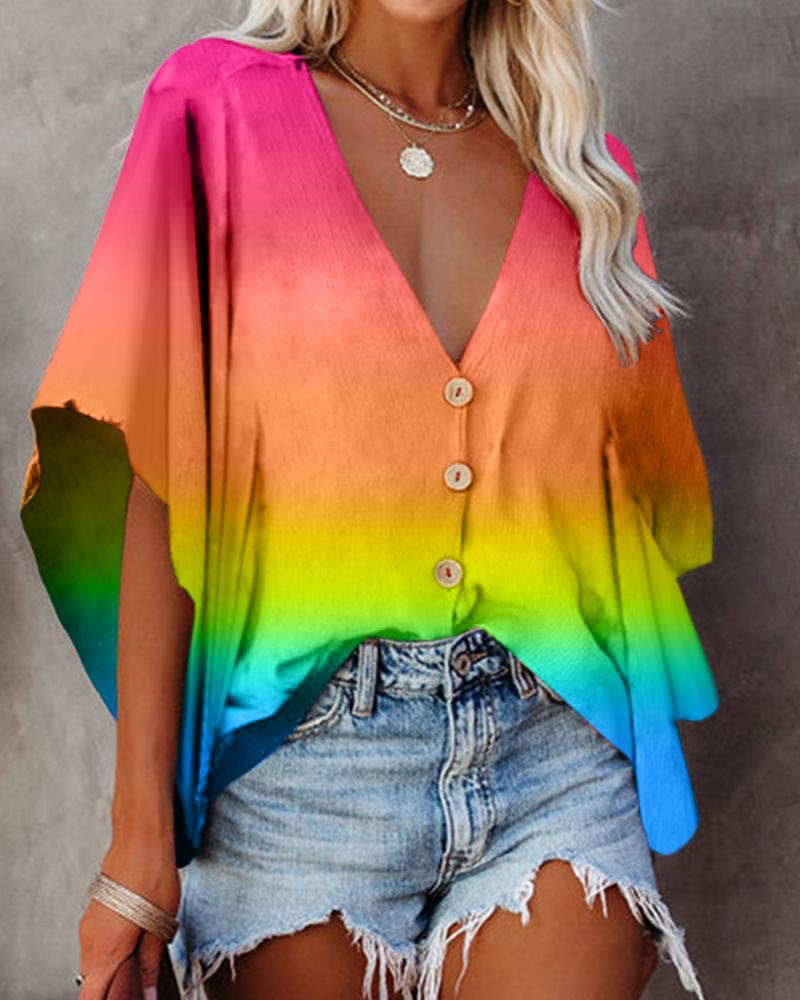 Batwing Sleeve Striped Colorblock Buttoned Top
