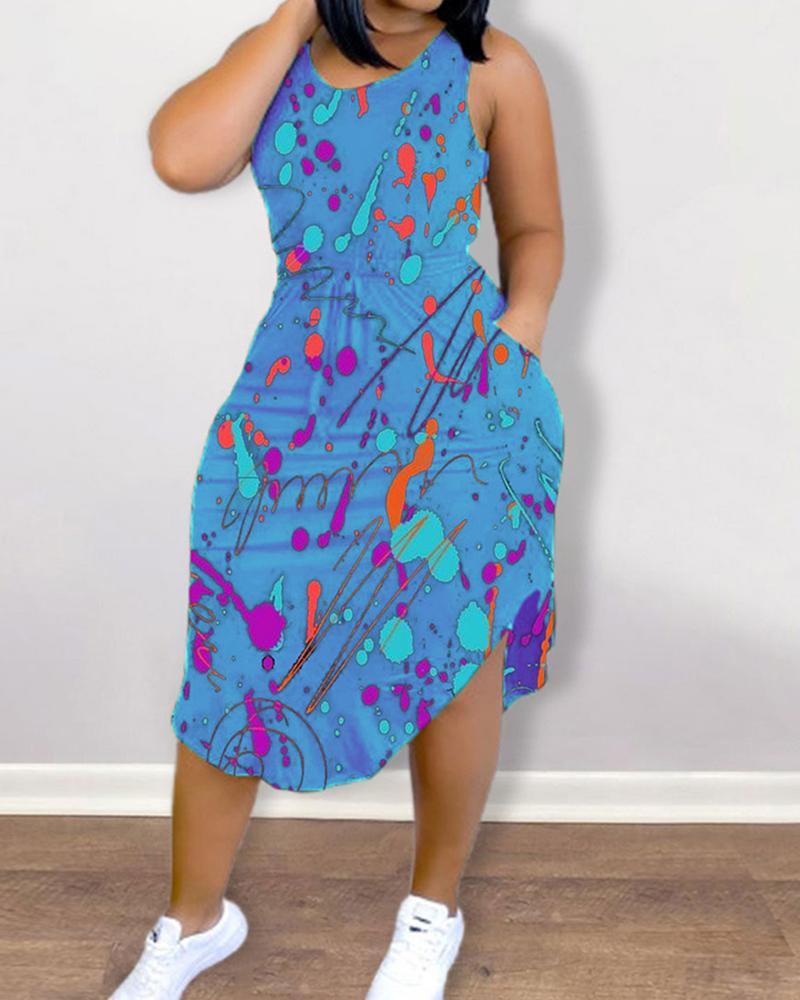 Ink Splash Print Strap Sleeveless Slim Midi Dress