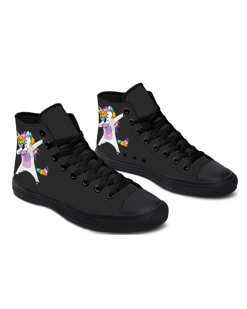 Womens Posture Unicorn Print Lace-up High Top Canvas Casual Shoes, Black