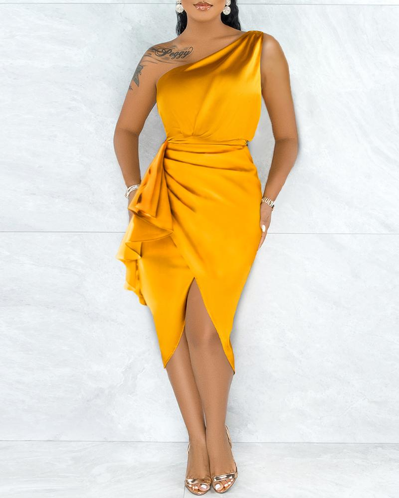 Solid One Shoulder Ruched Split Ruffle Hem Satin Dress, Yellow