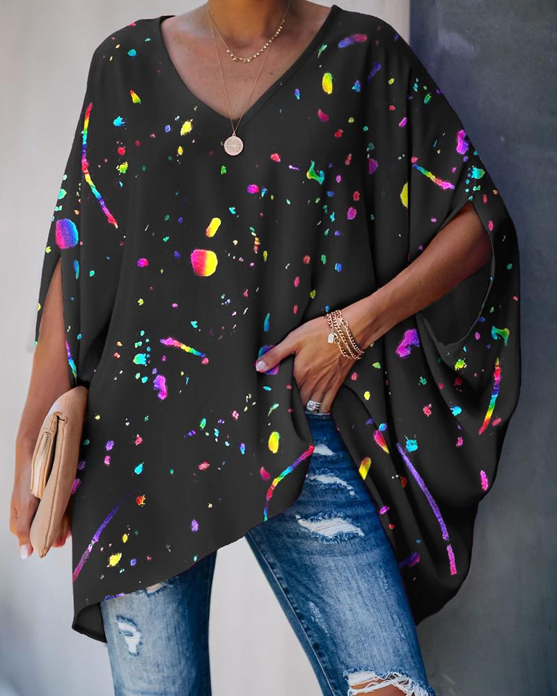 Colorblock Batwing Sleeve V-Neck Casual Top