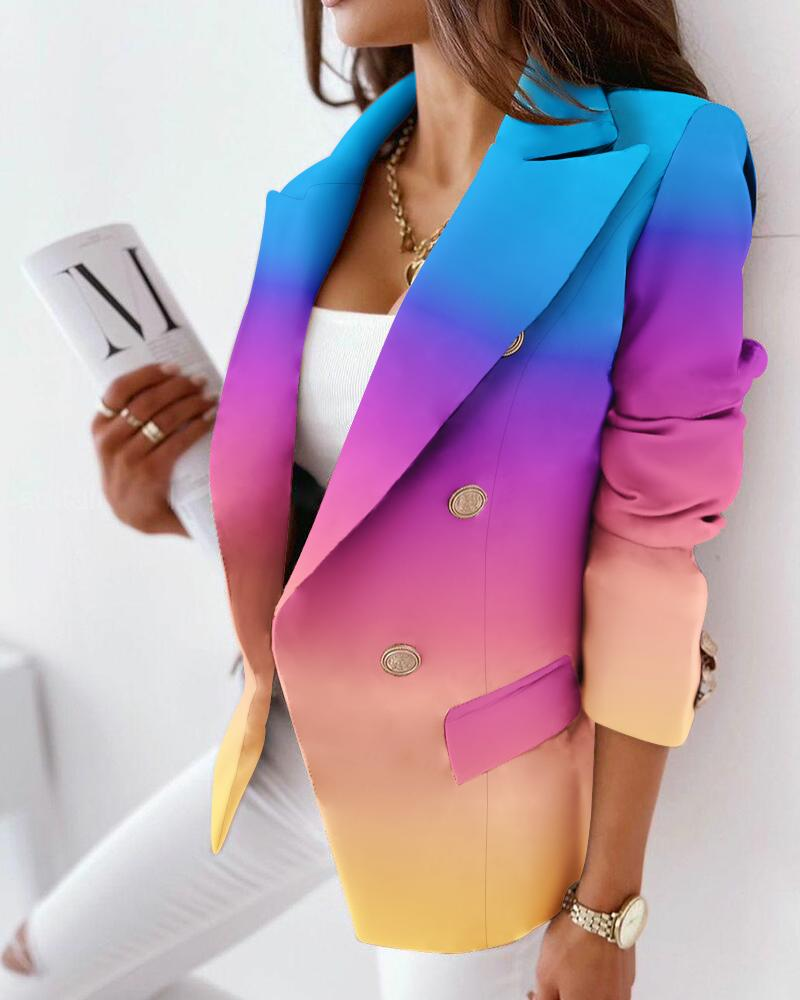 Ombre Lapel Collar Flap Detail Double Breasted Blazer