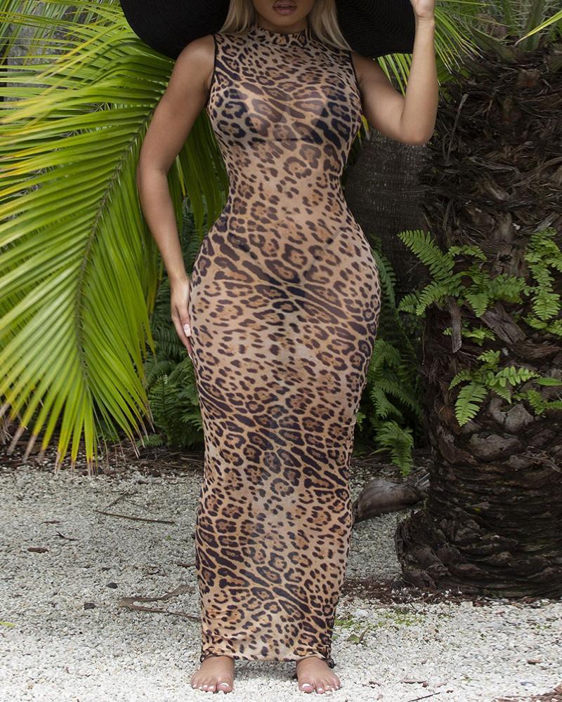 Cheetah Print / Colorblock Sleeveless Sheer Mesh Party Dress