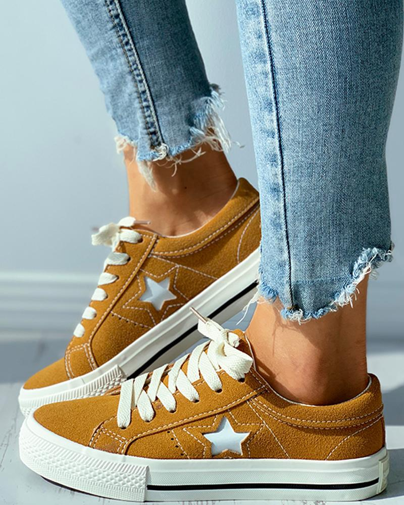 Star Pattern Cutout Lace-up Suede Shoes