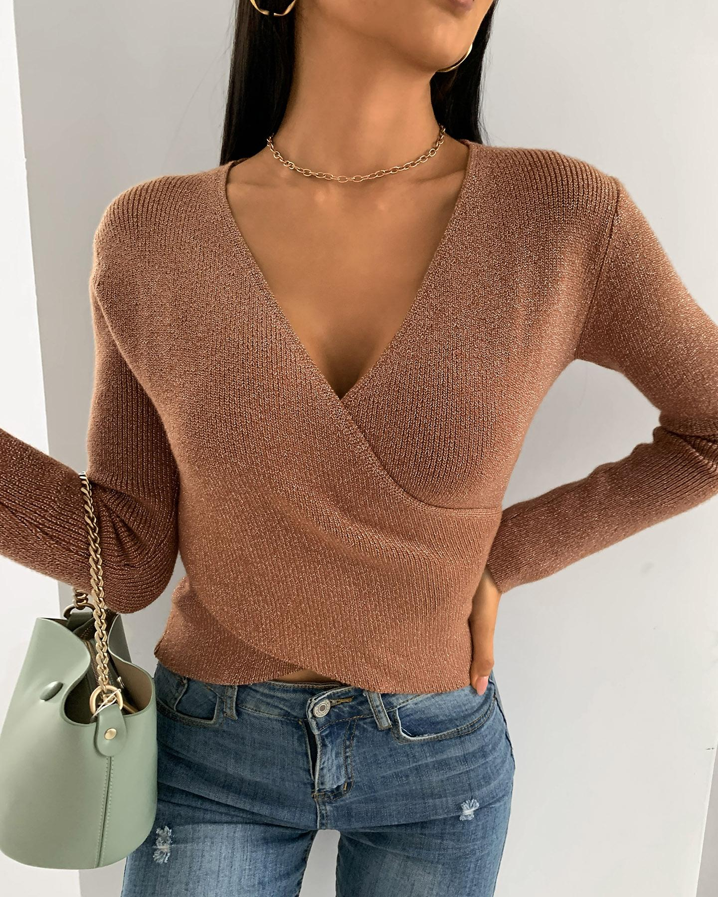 Solid Wrap Long Sleeve Knit Crop Top