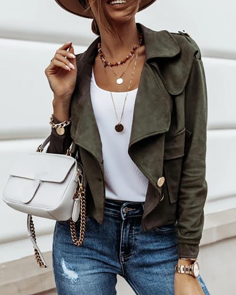 Buttoned Pocket Design Long Sleeve Jacket