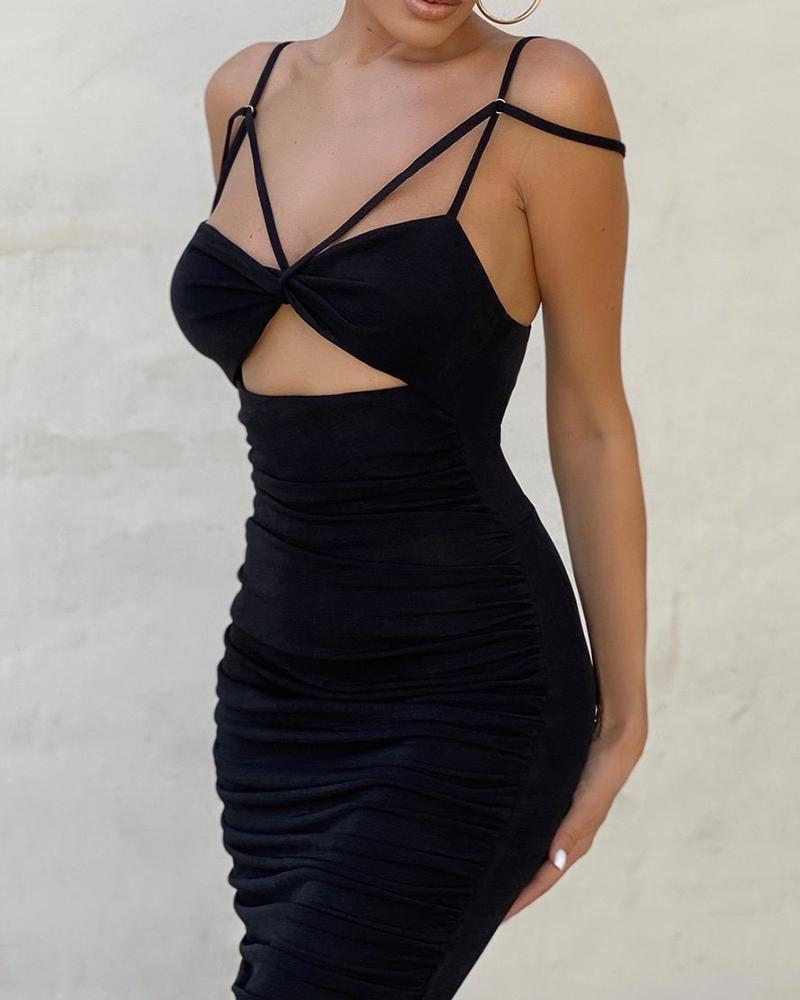 Cold Shoulder Twisted Cutout Front Ruched Dress