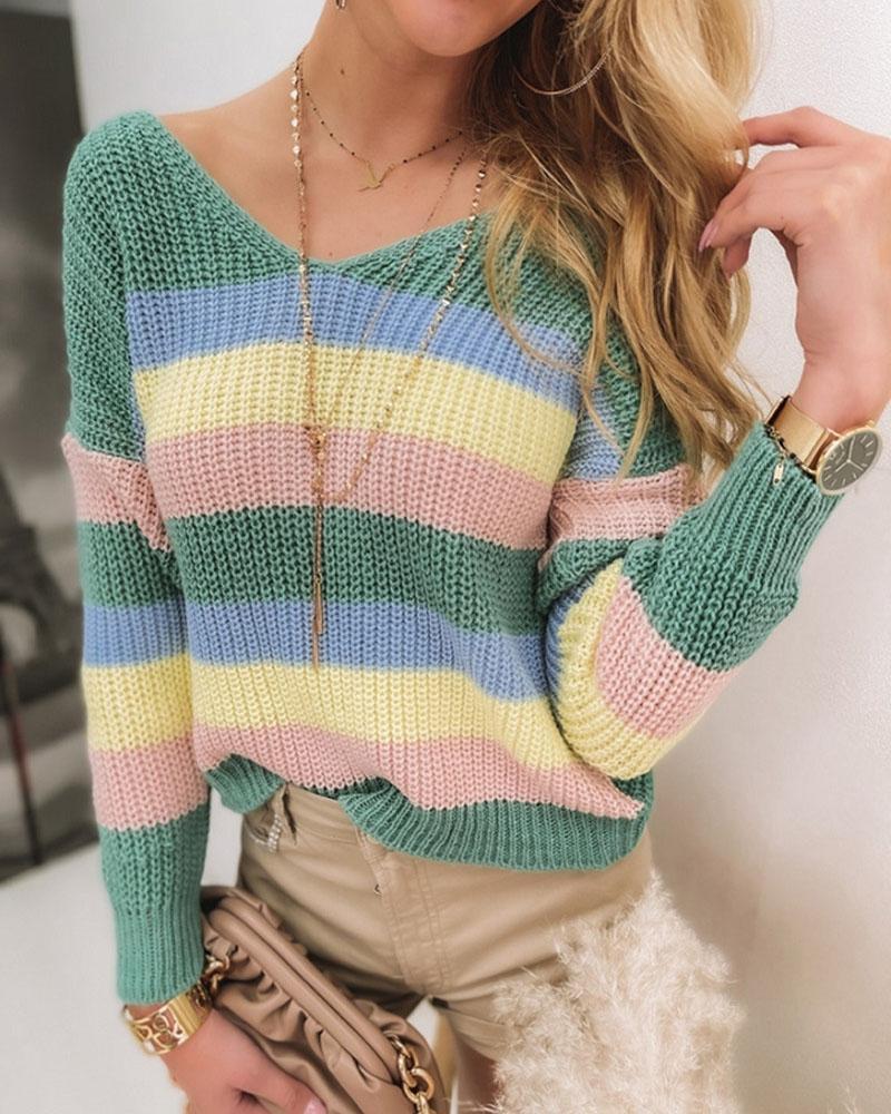 Rainbow Striped Twist V Back Chunky Knit Sweater