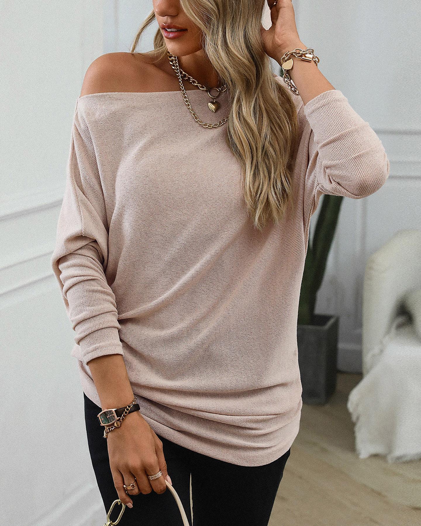 Plain Long Sleeve Loose One Shoulder Blouse