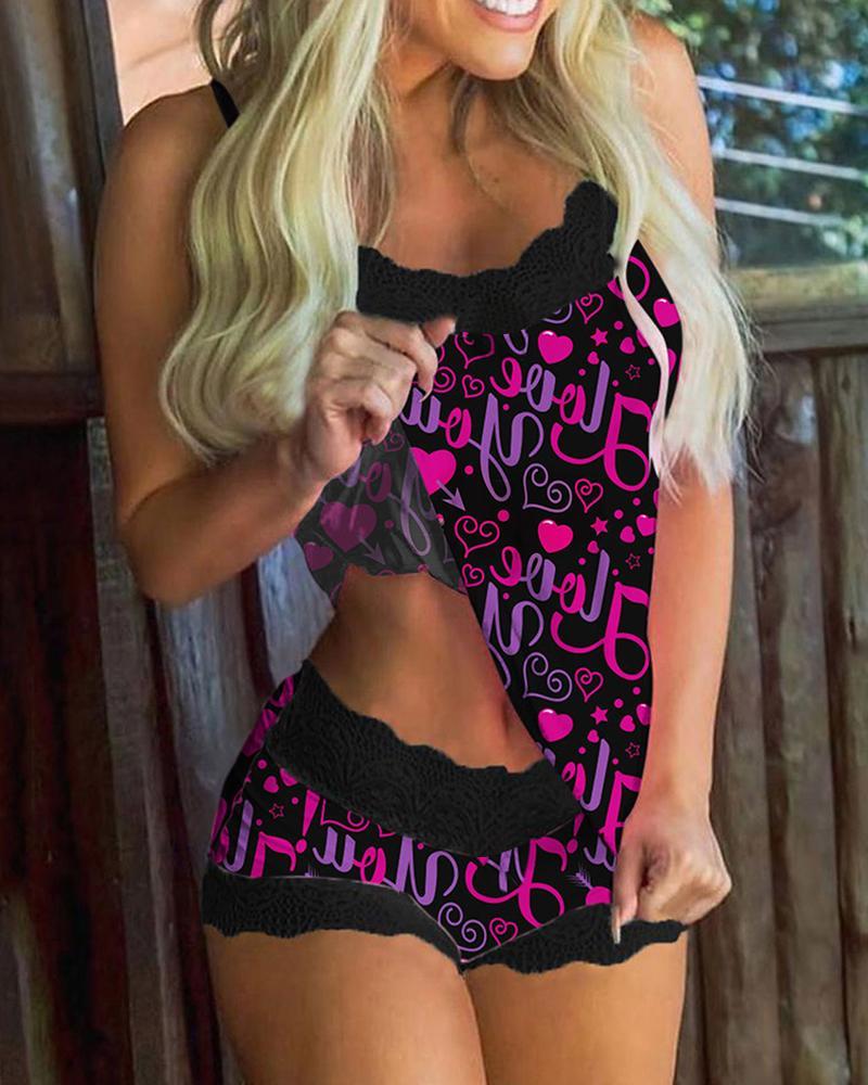 Letter Heart Print Contrast Lace Cami Sets thumbnail