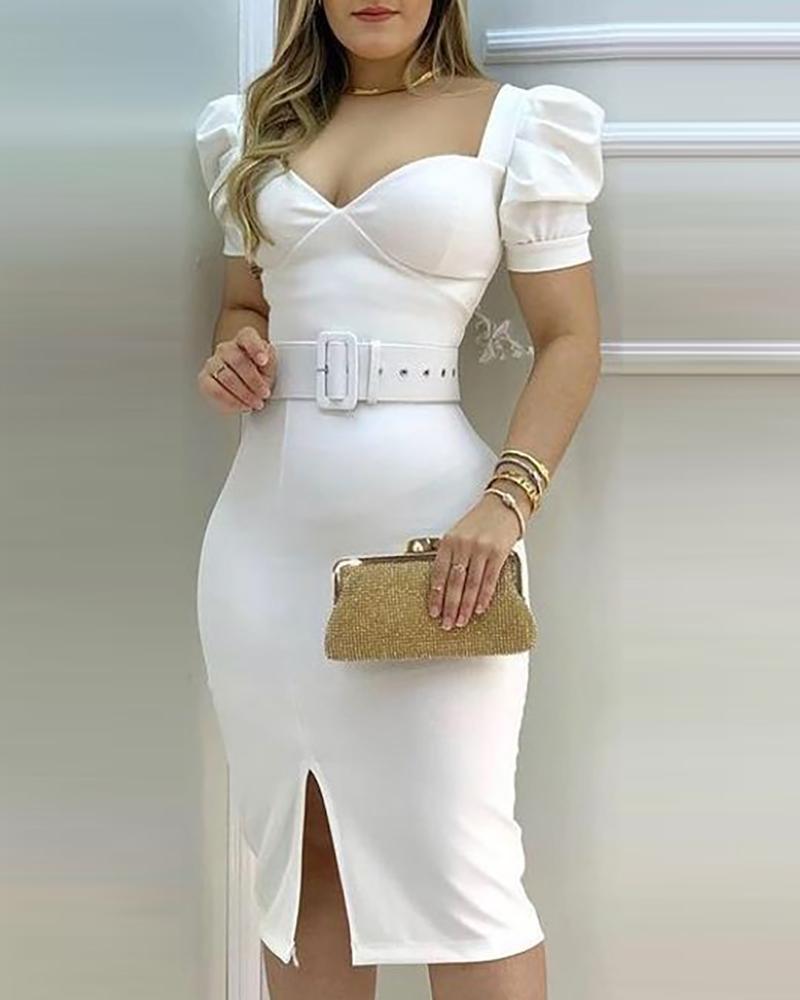 Puff Sleeve Slit Midi Dress