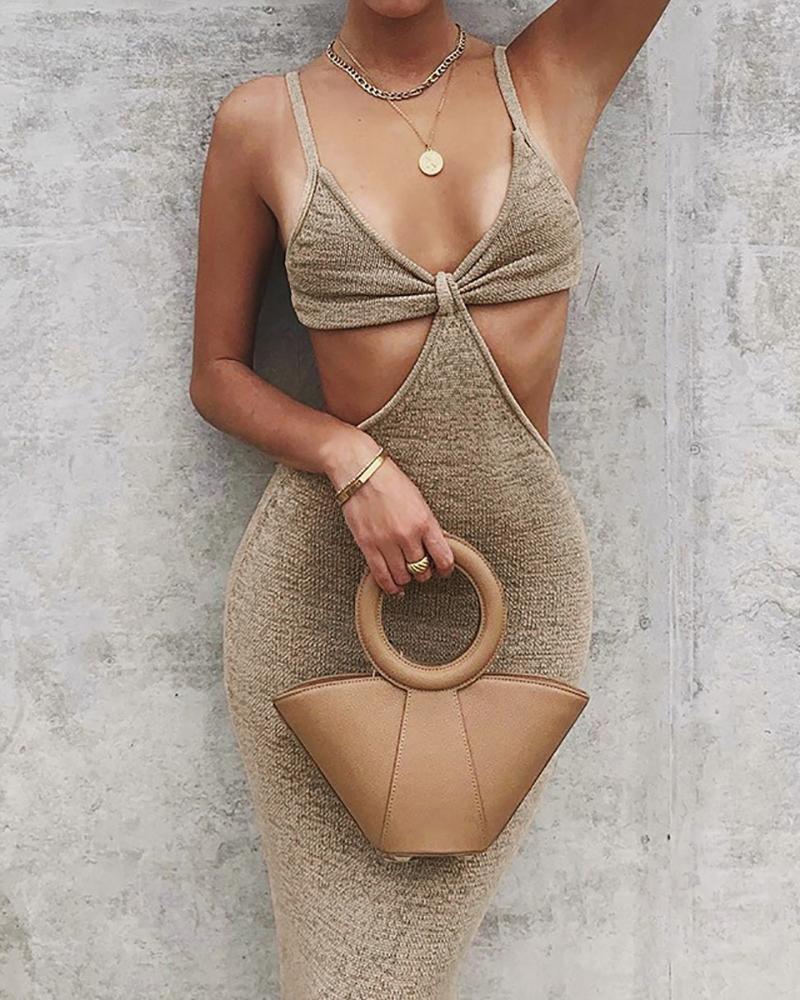 Cutout Backless Skinny V Neck Maxi Dress