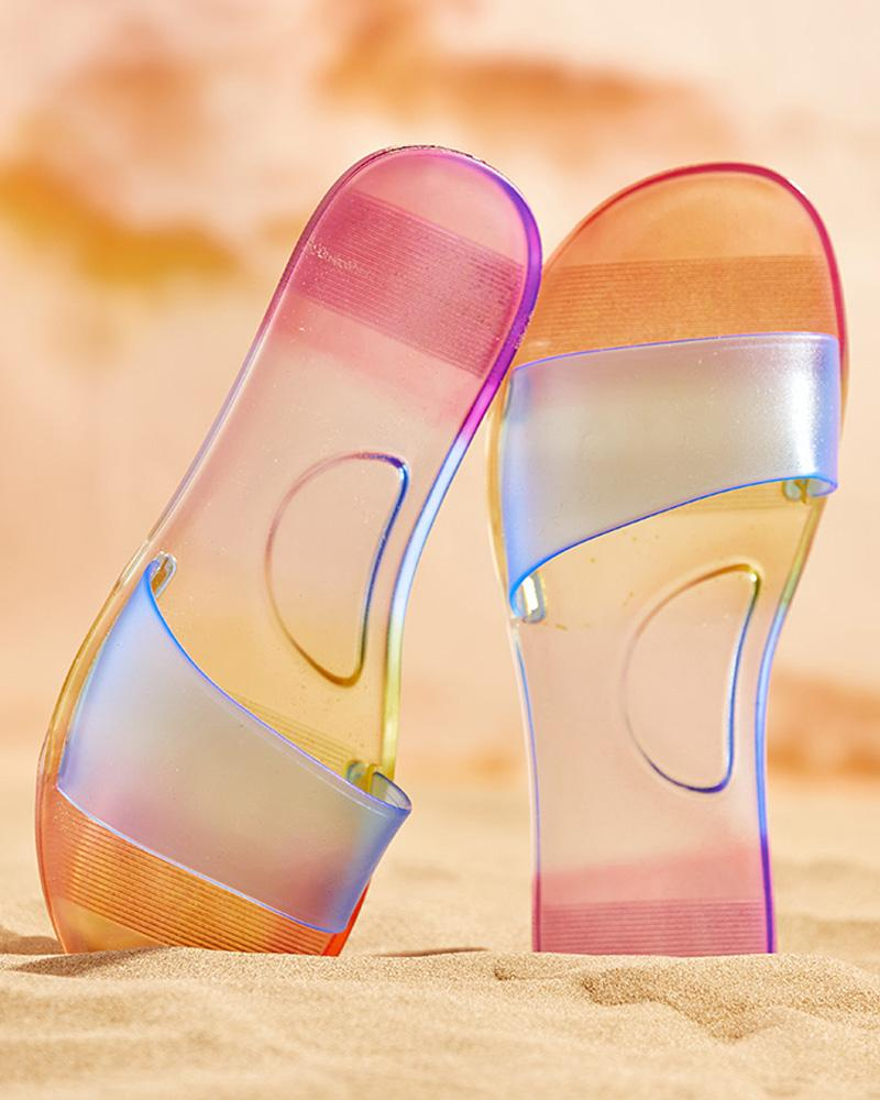 Colorblock Open Toe Clear Casual Slippers