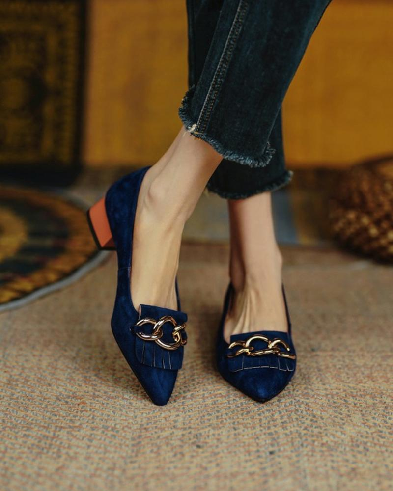 Chic Womens Point Toe Tri-Rings Decor Low Heels Shoes