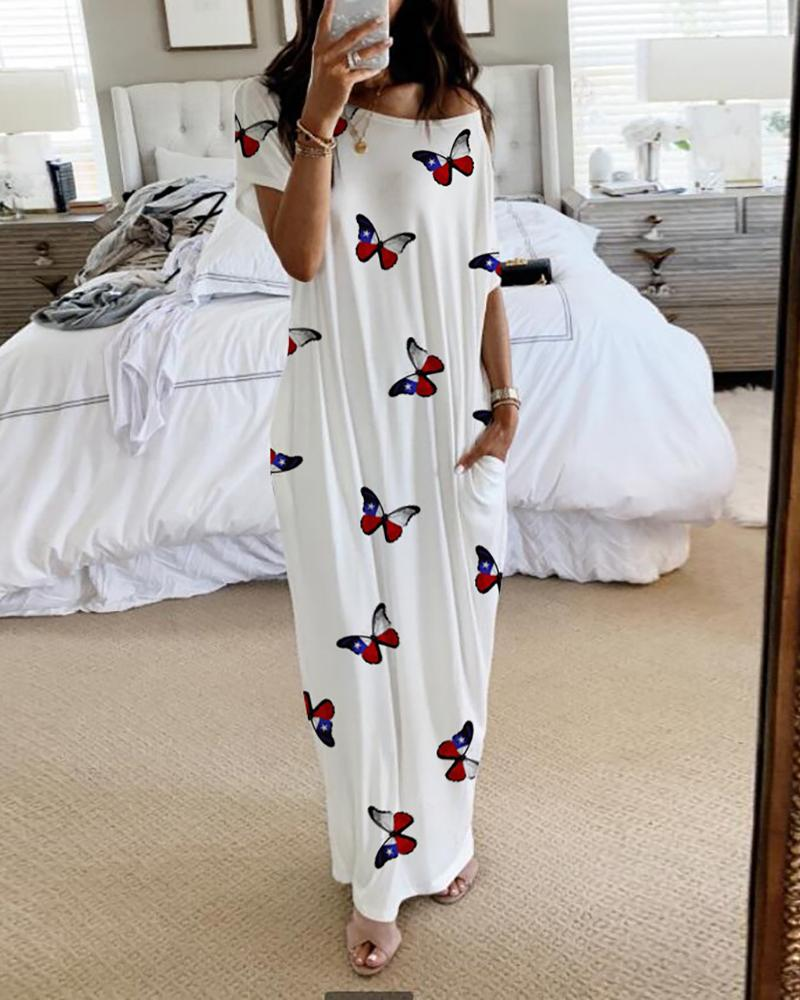 Butterfly Print Short Sleeve Casual Dress thumbnail