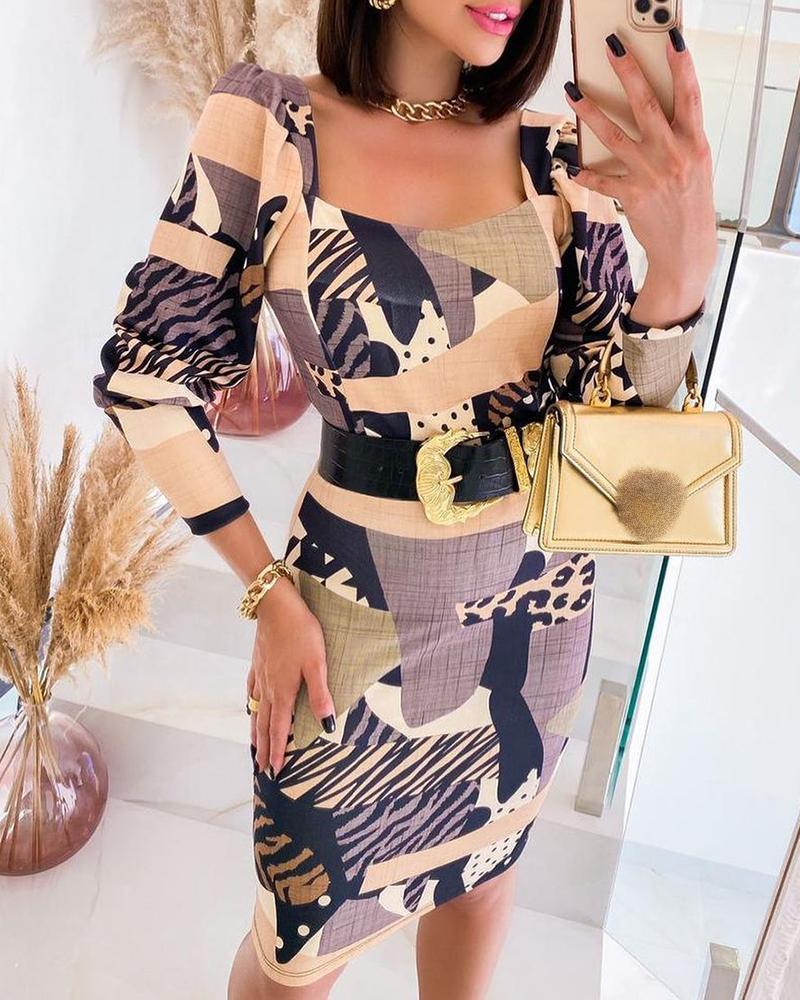 Colorblock Long Sleeve Skinny Dress
