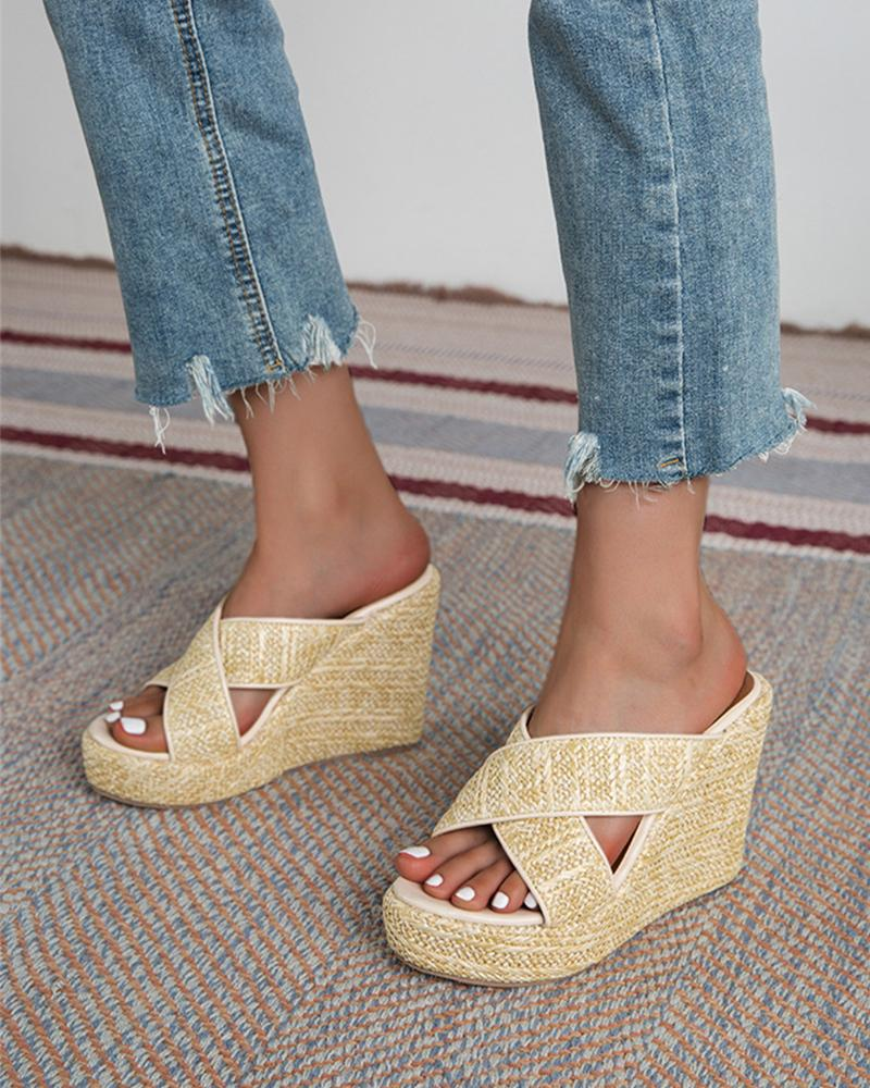 Solid Cut-out Patch Upper Wedge Shoes Sandals