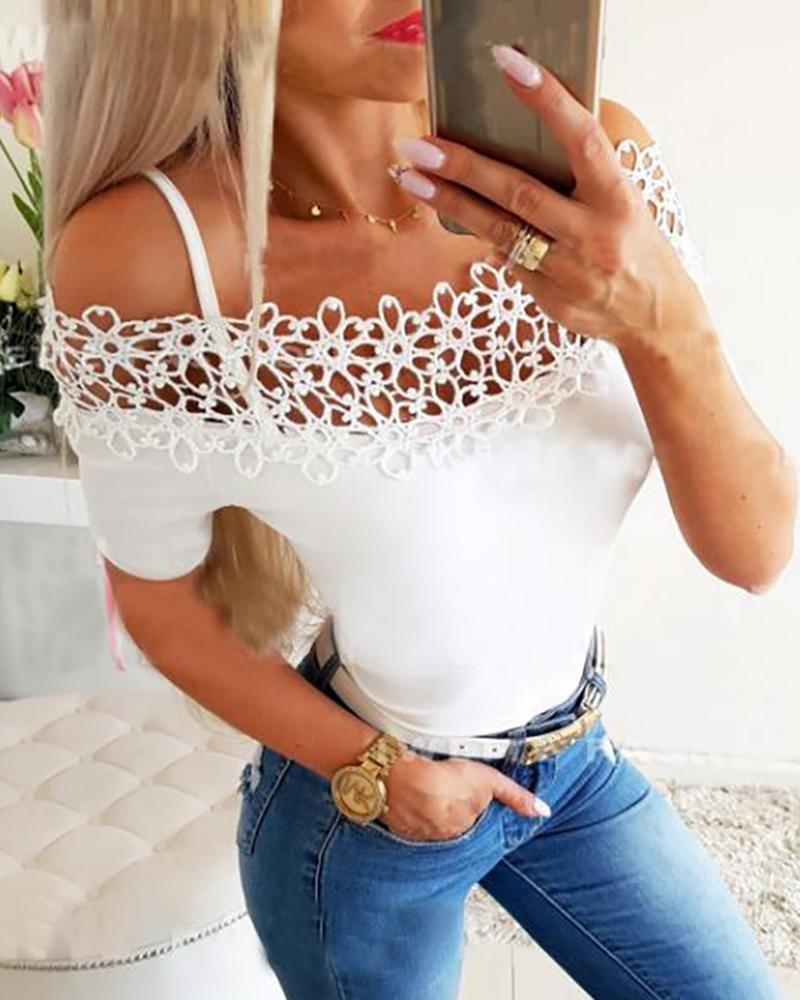 Cold Shoulder Hollow Out Trim T-shirt, White