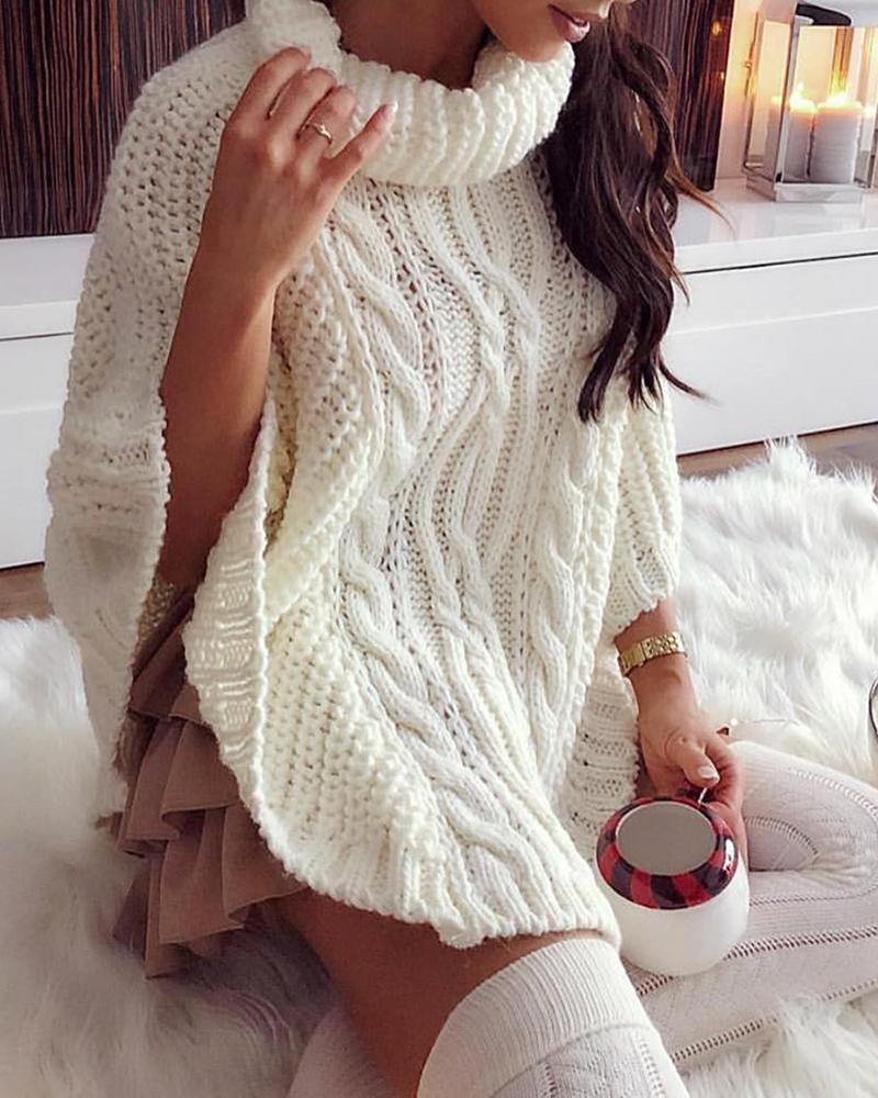 Batwing Sleeve High Neck Braided Sweater, White