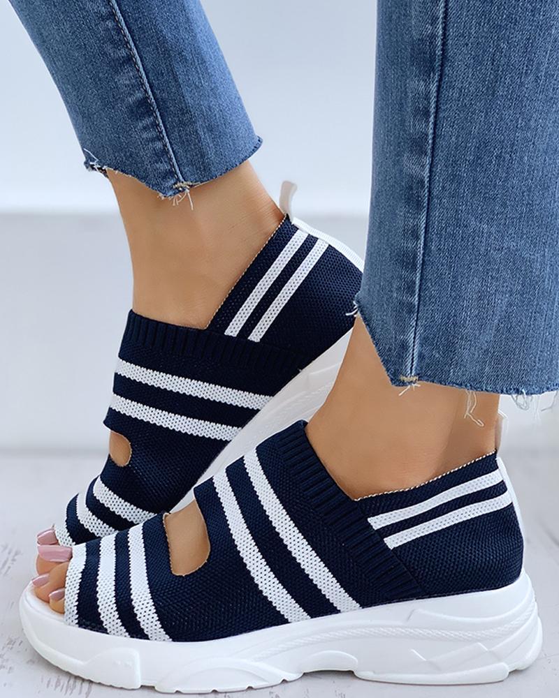Striped Colorblock Peep Toe Wedge Heeled Sandals
