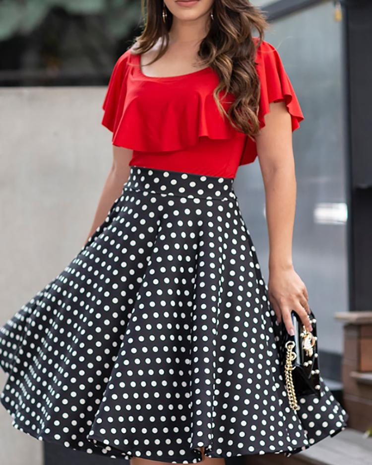 ChicMe coupon: Ruffles Dot Splicing Pleated Casual Dress
