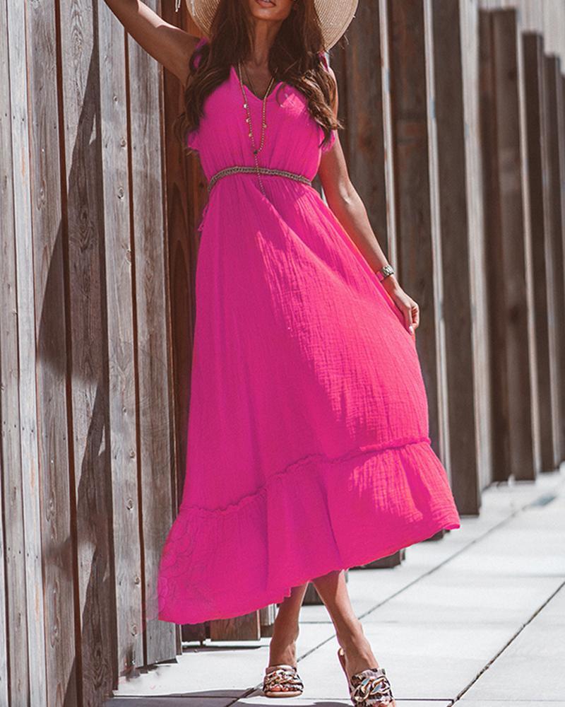 Solid Color Ruffle Hem Sleeveless Maxi Dress