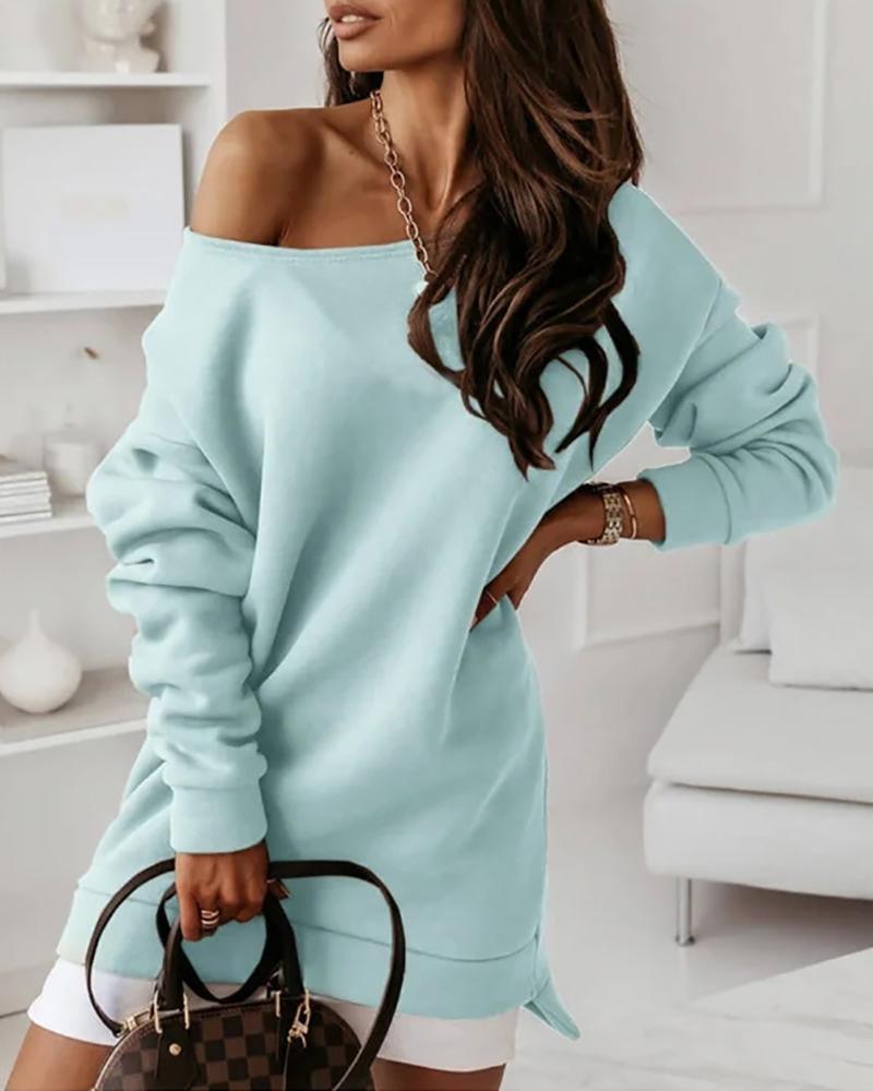 Colorblock Long Sleeve Casual Sweatshirt Dress