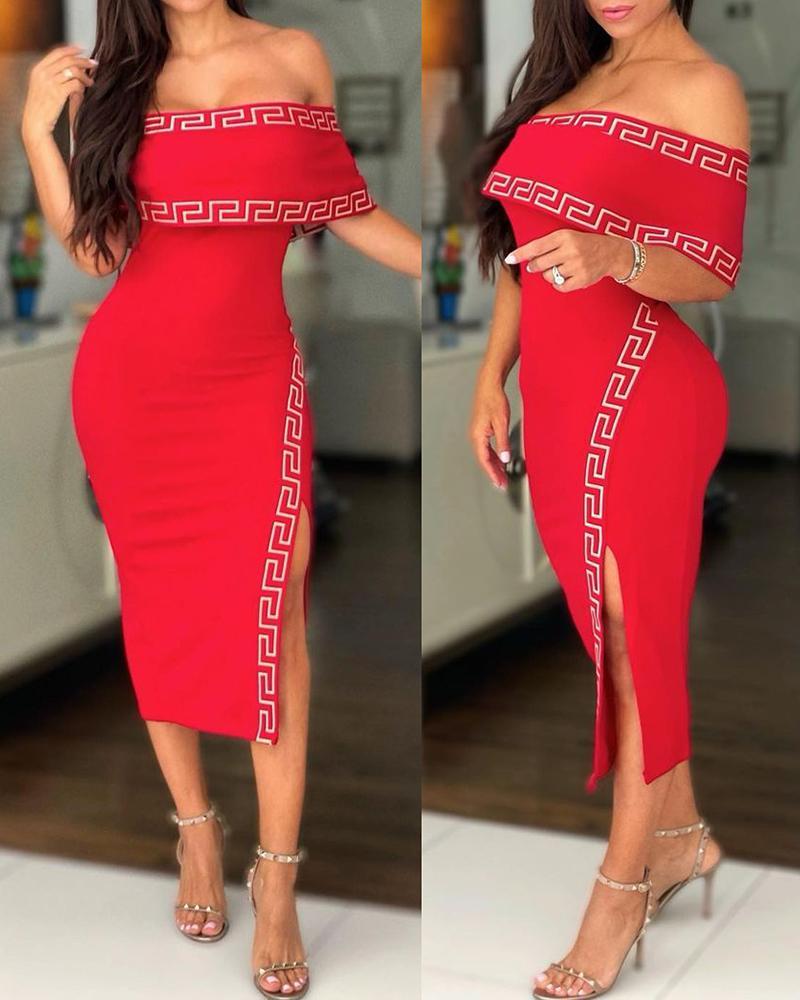 Off Shoulder Geo Pattern Print Slit Dress