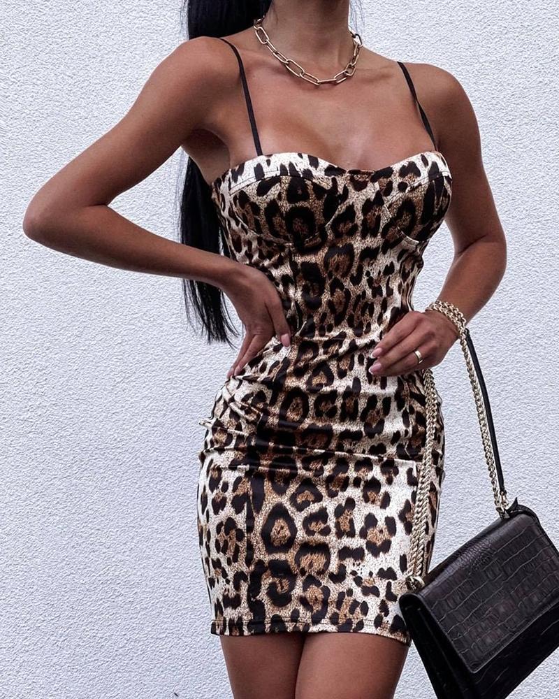 Spaghetti Strap Cheetah Print Skinny Dress