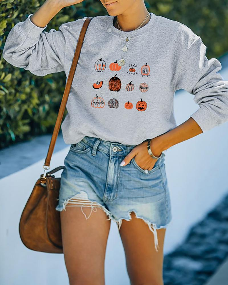 Halloween Pumpkin Print O Neck Long Sleeve Sweatshirt