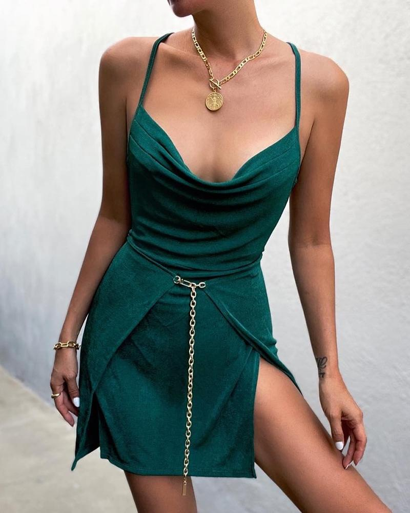 Ruched Cowl Neck Chain Decor Slit Party Dress