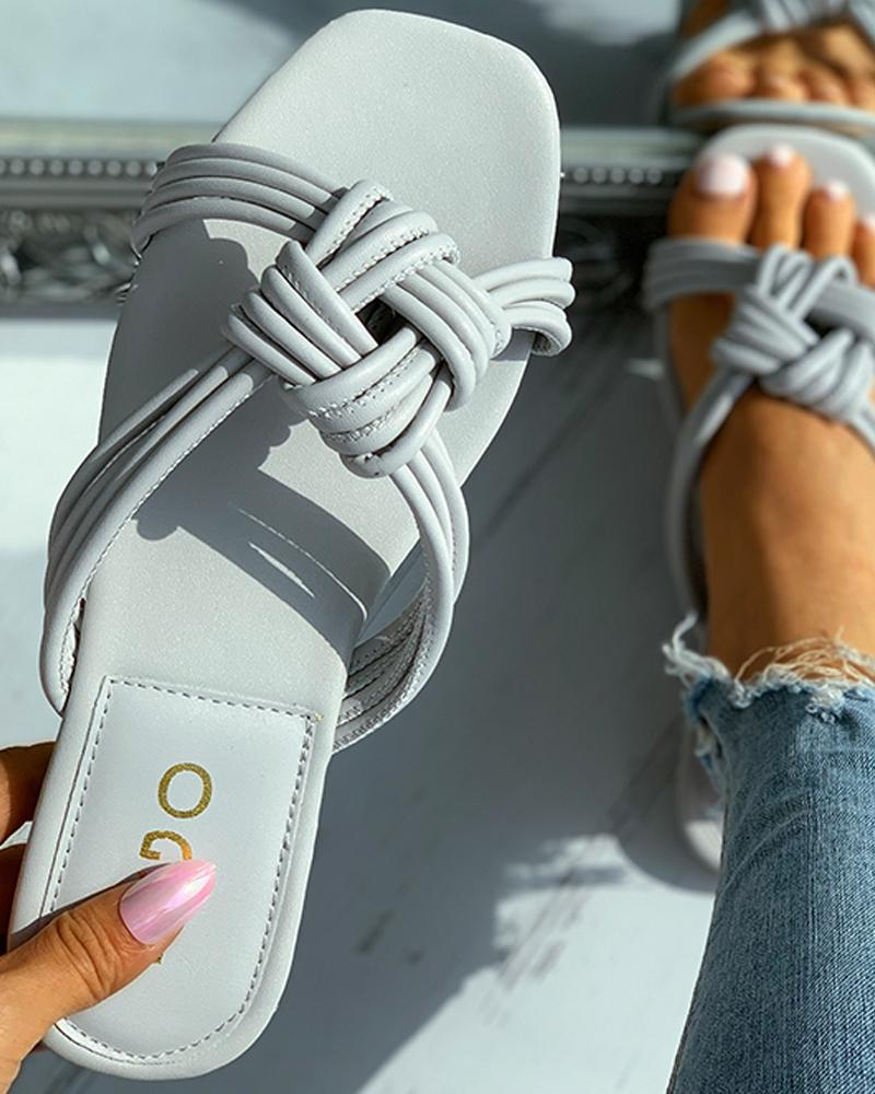 Braided Square Toe Flat Sandals