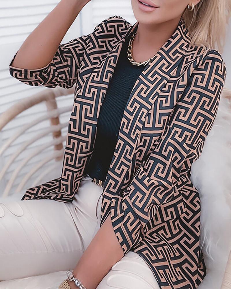 Long Sleeve Geo Pattern Print Blazer Coat