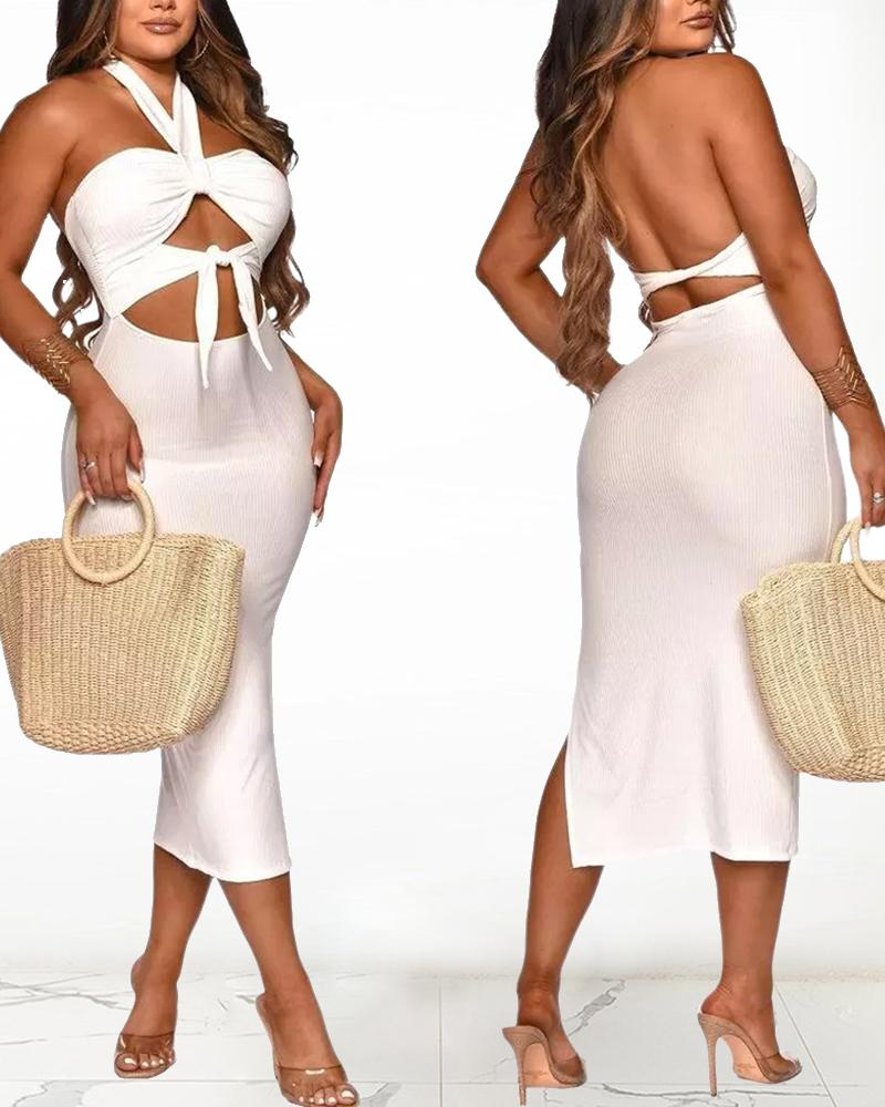 Solid Color Backless Cut-out Halter Sleeveless Knitted Maxi Dress