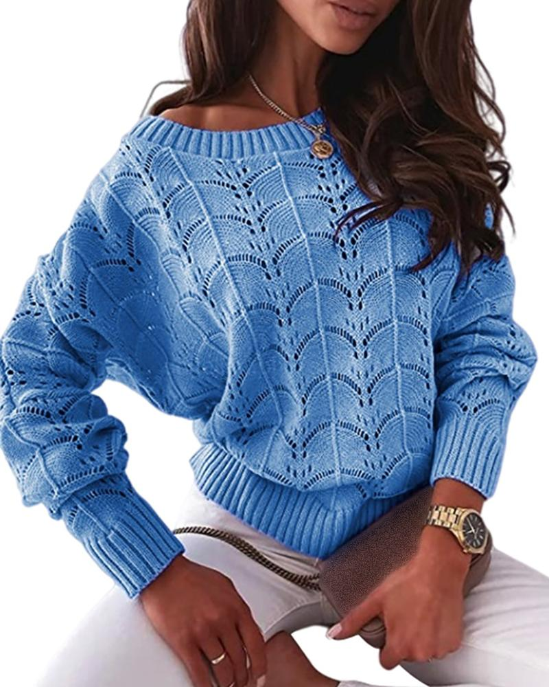 Hollow Out Long Sleeve Casual Knit Sweater Casual Round Neck Solid Rib-Knit Sweater, ivrose, blue  - buy with discount